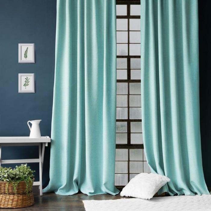 Комплект штор «Джерри», размер 200 х 270 см - 2 шт, подхват - 2 шт см, цвет голубой