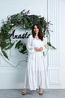 Женское летнее белое большого размера платье Anastasia 626 белый 52р.