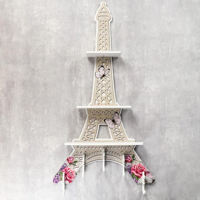 """Крючки декоративные дерево с полочкой """"Эйфелева башня"""" 103х54х7 см"""