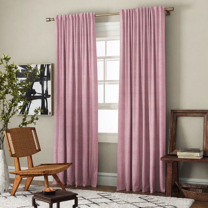 Комплект штор «Ибица», размер 200 х 270 см - 2 шт, подхват - 2 шт см, цвет розовый