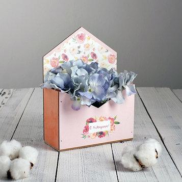 Ящик-конверт для цветов «С 8 марта» 20 х 15 х 6 см