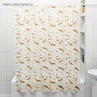 Штора для ванной комнаты «Дельфины», 180×180 см, полиэтилен, цвет бежевый