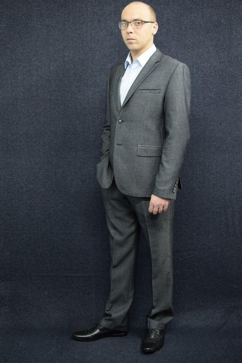 Мужской осенний серый деловой большого размера костюм DOMINION 4482D/5176D 1C28-P49 176 Темно-серый 48р. - фото 2