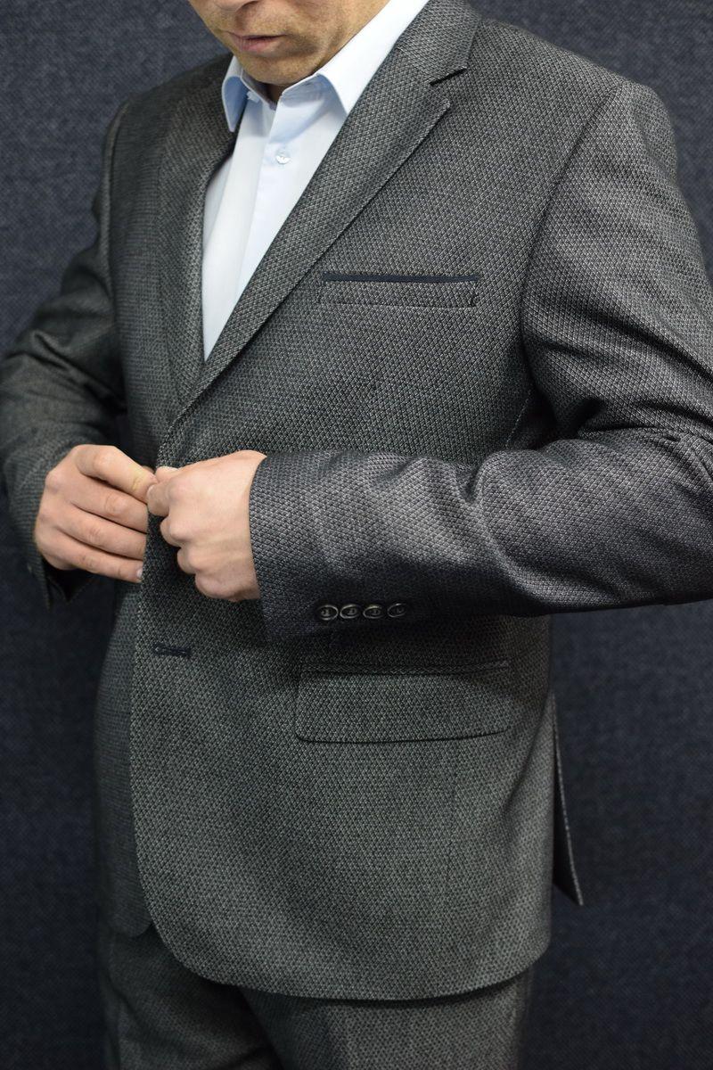 Мужской осенний серый деловой большого размера костюм DOMINION 4482D/5176D 1C28-P49 176 Темно-серый 48р. - фото 3