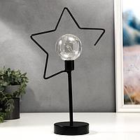 "Ночник настольный ""Звезда"" LED от батареек 3хААА черный 11х22х38 см"