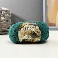 """Пряжа """"Alpaca D'Italia"""" 50% альпака, 50% нейлон 300м/50гр (19 т.зелёный)"""