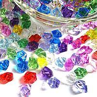Декоративные кристаллы пластиковые разноцветные 300 г
