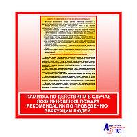 """Плакат """"ПАМЯТКА ПО ДЕЙСТВИЯМ В СЛУЧАЕ ВОЗНИКНОВЕНИЯ ПОЖАРА + РЕКОМЕНДАЦИИ ПО ПРОВЕДЕНИЮ ЭВАКУАЦИИ ЛЮДЕЙ"""""""