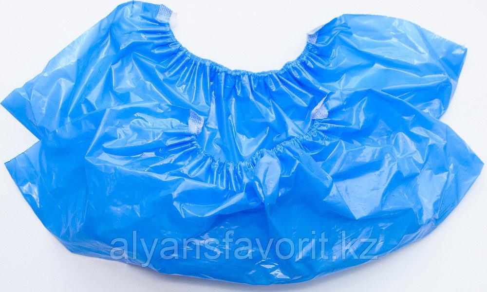 Бахилы одноразовые синие 18 микр. - фото 2