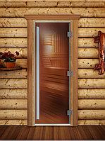 """Дверь для бани """"ПРЕСТИЖ"""", Бронза, Прозрачное 1800х600, 8 мм"""
