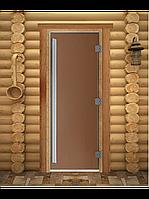 """Дверь для бани """"ПРЕСТИЖ"""", Бронза, Матовое 1800х600, 8 мм"""