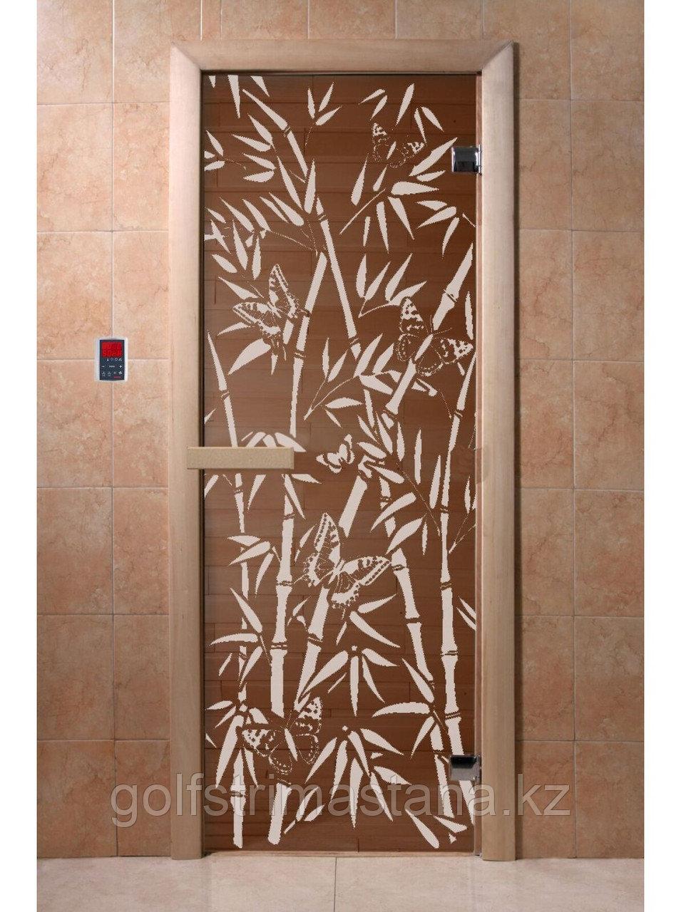 """Дверь для бани """"Бамбук и бабочки"""" бронза 1900*700, 6мм, 2 петли"""