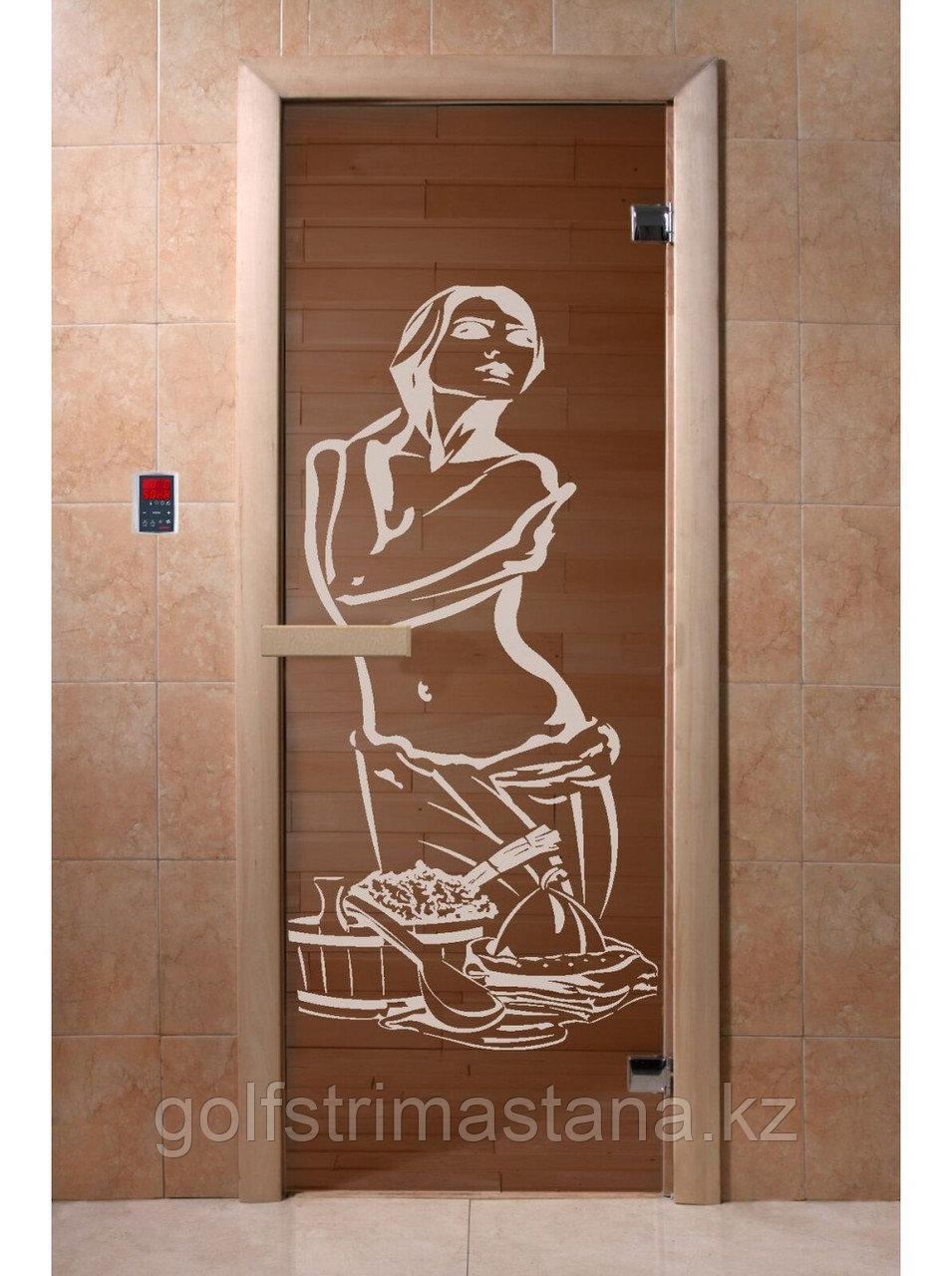 """Дверь для бани """"Искушение бронза"""" 1900*700, 6мм, 2 петли"""
