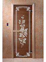 """Дверь для бани """"Розы бронза"""" 1900*700, 6мм, 2 петли"""