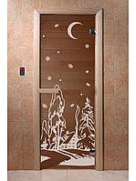 """Дверь для бани """"Зима бронза"""" 1900*700, 6мм, 2 петли"""