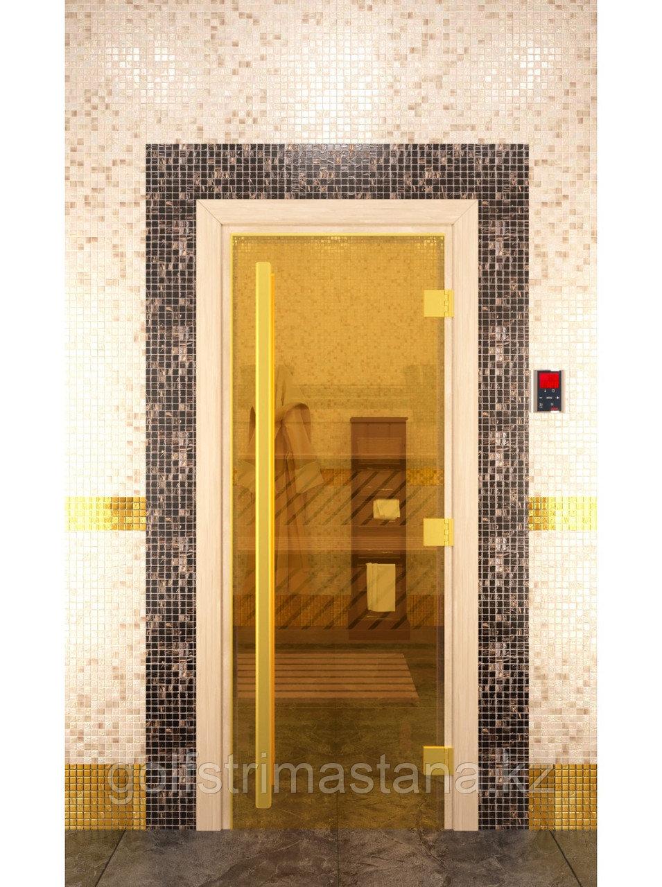 """Дверь для бани """"ПРЕСТИЖ"""", Золото, Прозрачное 2000х800, 8 мм"""