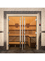 "Дверь для бани ""ПРЕСТИЖ"" Двойная, Золото, Прозрачное 2000х1330, 8 мм, фото 1"