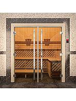 "Дверь для бани ""ПРЕСТИЖ"" Двойная, Золото, Прозрачное 2000х1530, 8 мм, фото 1"