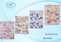 Блокнот Цветы плотная полиэтиленовая обложка с плавающими блёстками в подарочной упаковке 80 листов