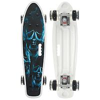 Скейтборд с ручкой 55 × 14 см, колёса световые PU 60 × 45 мм, ABEC 7, алюминиевая рама синий