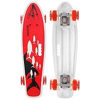 Скейтборд с ручкой 55 × 14 см, колёса световые PU 60 × 45 мм, ABEC 7, алюминиевая рама красный