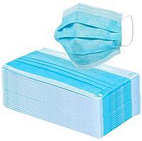 Маска лицевая 3-х слойная голубая 50шт в коробке