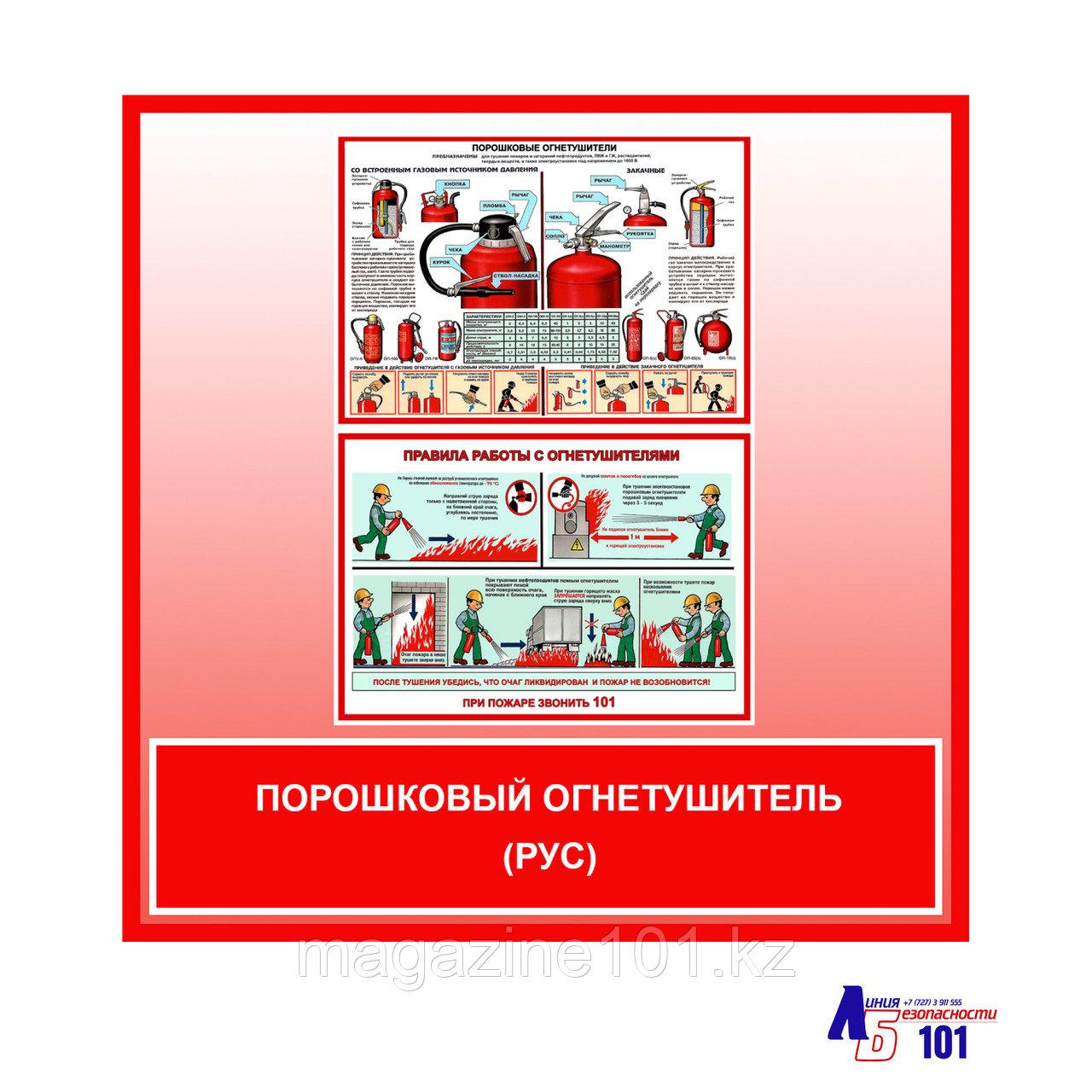 """Плакат """"Порошковый огнетушитель""""(рус)"""