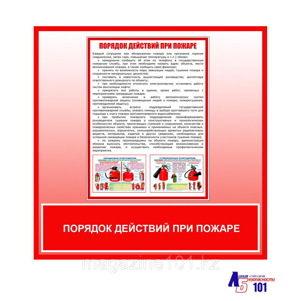 """Плакат """"Порядок действий при пожаре"""""""