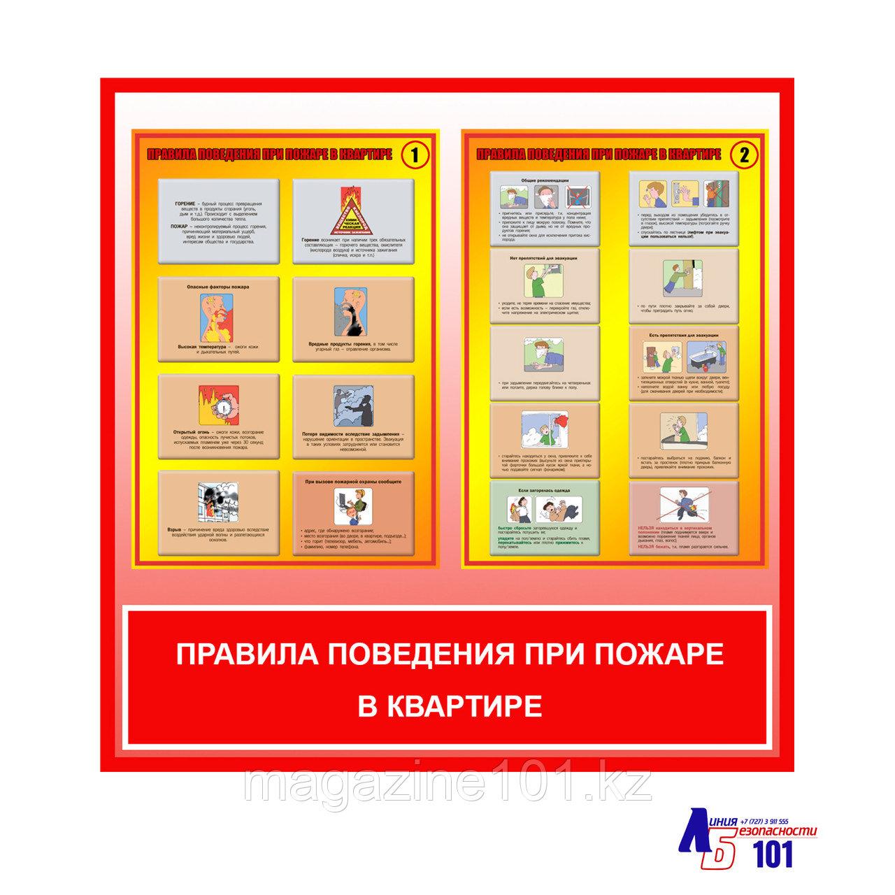 """Плакаты """"Правила поведения при пожаре в квартире"""""""