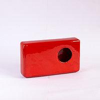 Ваза (вертикальная, La Recto), прямоугольная (L27см. W15см. H6см.), керамика (красный, глянцевый), отверстие