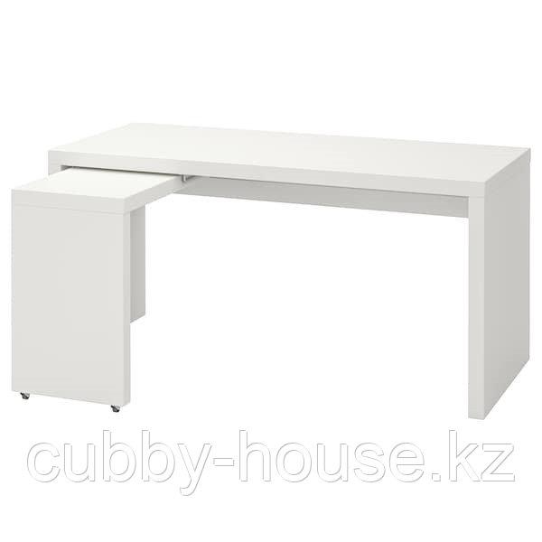 MALM МАЛЬМ Письменный стол с выдвижной панелью, белый 151x65 см