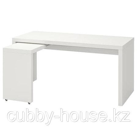 MALM МАЛЬМ Письменный стол с выдвижной панелью, белый 151x65 см, фото 2