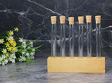 Пробирки для специй и декора Стеклоприбор  6 шт., деревянный штатив