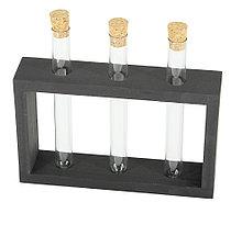 Деревянная подставка с пробирками для специй и декора 3 шт,  цвет черный