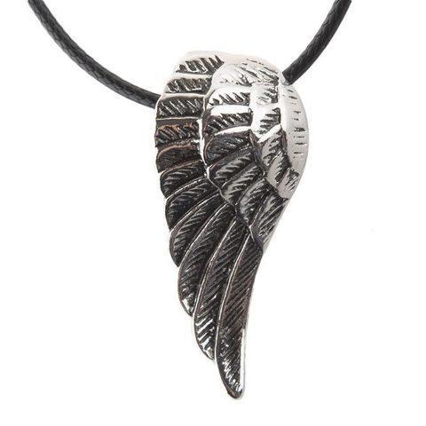 Кулон подвеска «Крыло ангела» на черной шнуровке