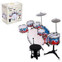 Барабанная установка «Виртуоз», 6 барабанов, 2 тарелки, палочки, педаль, стульчик