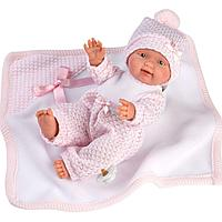 Кукла малыш Llorens с розовым одеялом 26см