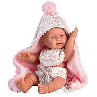 Кукла малыш Llorens с розовым одеялом и слюнявчиком 26см