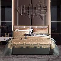 Комплект двуспального постельного белья размера KING SIZE из люкс сатина с узорами