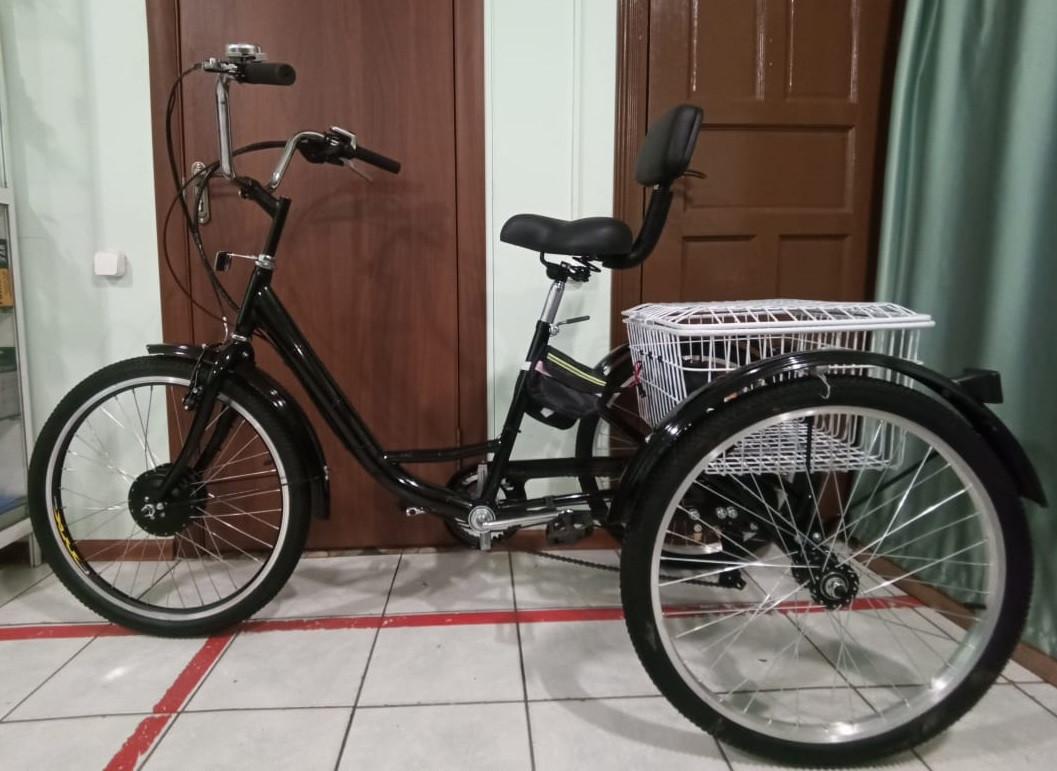 """36v 350w, аккум. Li-ion 36v 20A/H. Электровелосипед трехколесный. Вес 30 Кг. Колеса 24""""."""