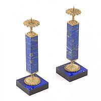 Декоративные подсвечники из натурального камня лазурит с бронзой пара