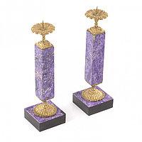 Настольные подсвечники из натурального камня чароит с бронзой пара