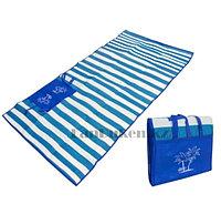 Пляжный коврик сумка складной Пальмы 120 на 170 см синий