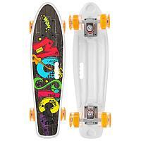 Скейтборд ONLITOP с ручкой 55 × 14 см, колёса световые PU 60 × 45 мм, ABEC 7, алюминиевая рама