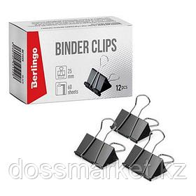 Зажимы для бумаг Berlingo, 25 мм, 12 шт., черные