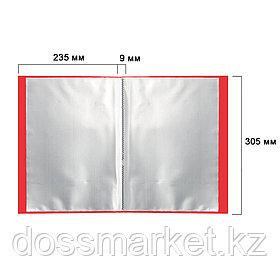 Папка файловая на 10 файлов, А4 формат, корешок 9 мм, красная