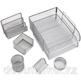 """Набор настольный Berlingo """"Steel&Style"""", 7 предметов, металлический, сетчатый, серебристый"""