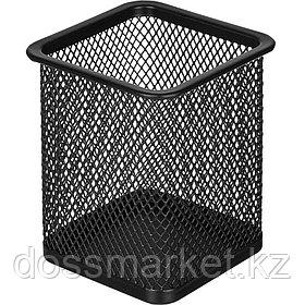 Стакан металлический Attache, 80*80*98 мм, сетчатый, квадратный, черный