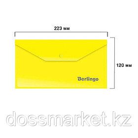 Папка-конверт с кнопкой Berlingo, С6, 180 мкм, желтая