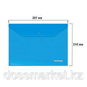 Папка-конверт с кнопкой Berlingo, А4, 180 мкм, до 50 листов, синяя